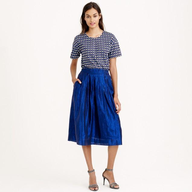 Petite pleated midi skirt in metallic voile