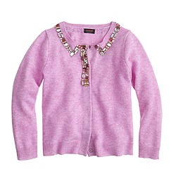Girls' jeweled cashmere cardigan sweater