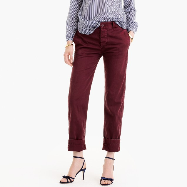 Petite broken-in boyfriend chino pant