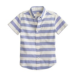 Boys' short-sleeve vintage oxford shirt in stripe