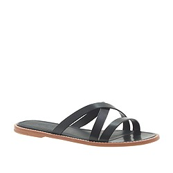 Vachetta leather crisscross slides