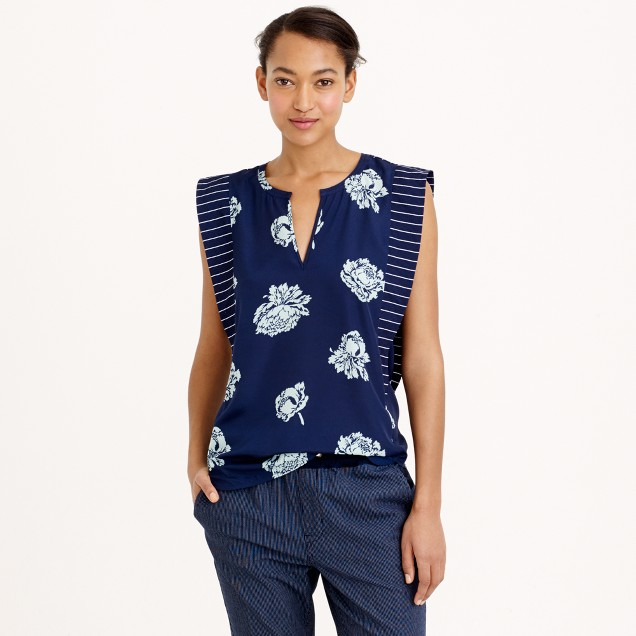 Tall graphic peony top