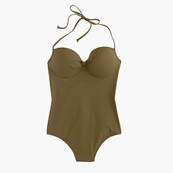 D-cup Italian matte knotted underwire one-piece swimsuit