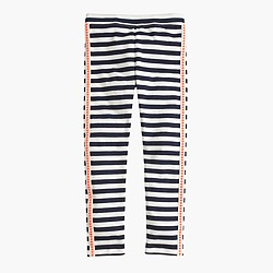 Girls' everyday leggings in dotted tux stripe