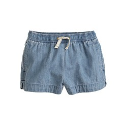 Girls' pull-on chambray easy short