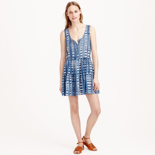 Henley tank dress in faded adire