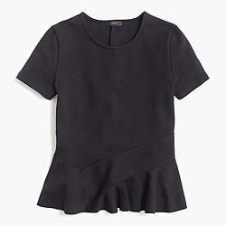 Structured flutter-hem T-shirt