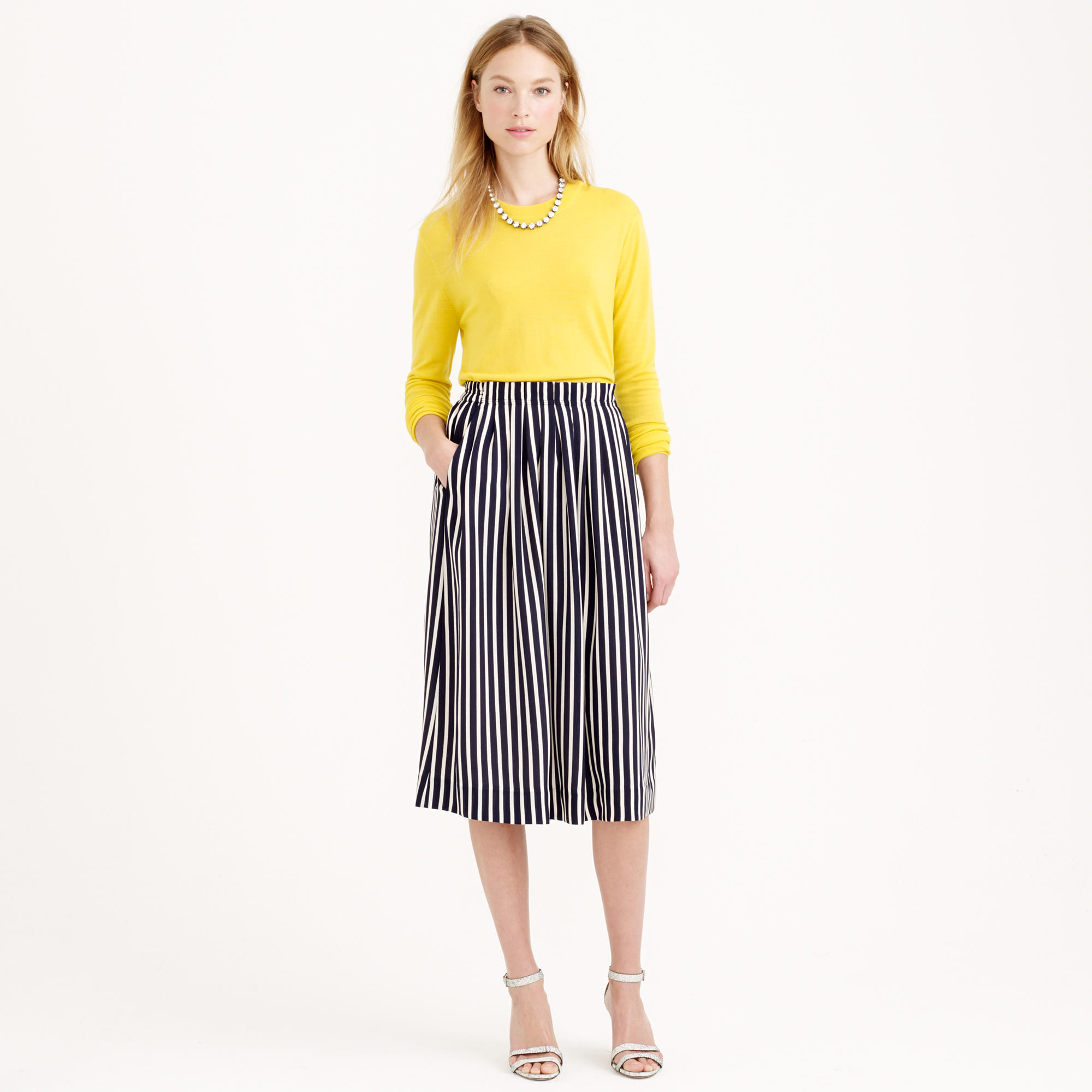 Pleated midi skirt in stripe : | J.Crew