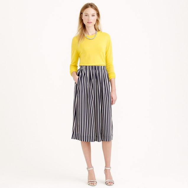 Tall pleated midi skirt in stripe