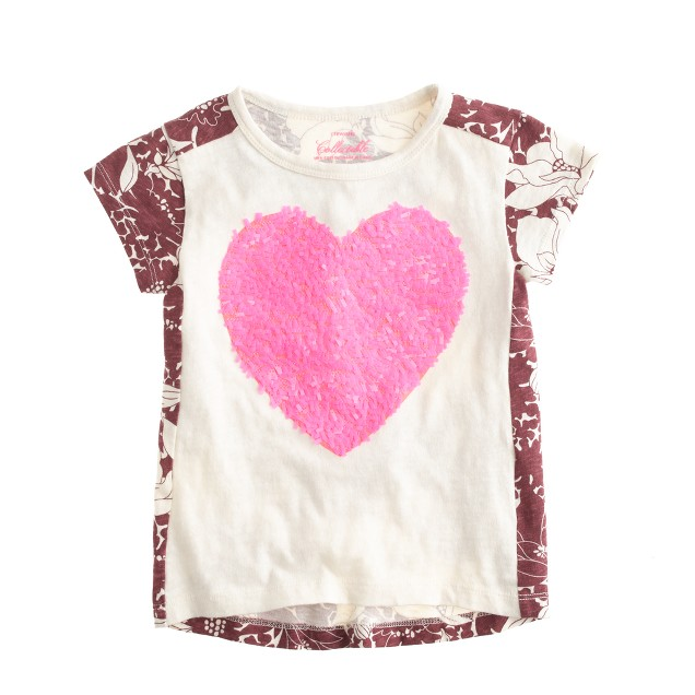 Girls 39 sequin heart floral t shirt j crew for Girls sequin t shirt