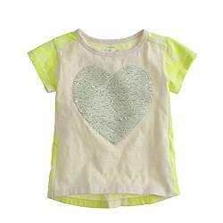 Girls' sequin heart floral T-shirt