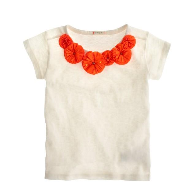 Girls' flower necklace T-shirt