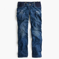 Maternity slim broken-in boyfriend jean in Michel wash