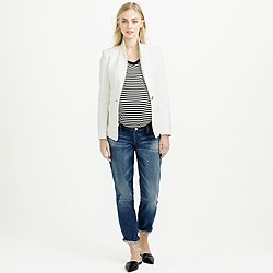 Petite maternity slim broken-in boyfriend jean in Michel wash