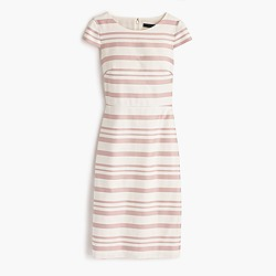 Petite double-stripe cap-sleeve dress