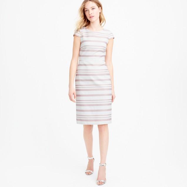 Petite double-stripe cap-sleeve dress