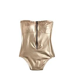 Metallic zip-front one-piece swimsuit