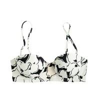 Inky floral underwire bikini top