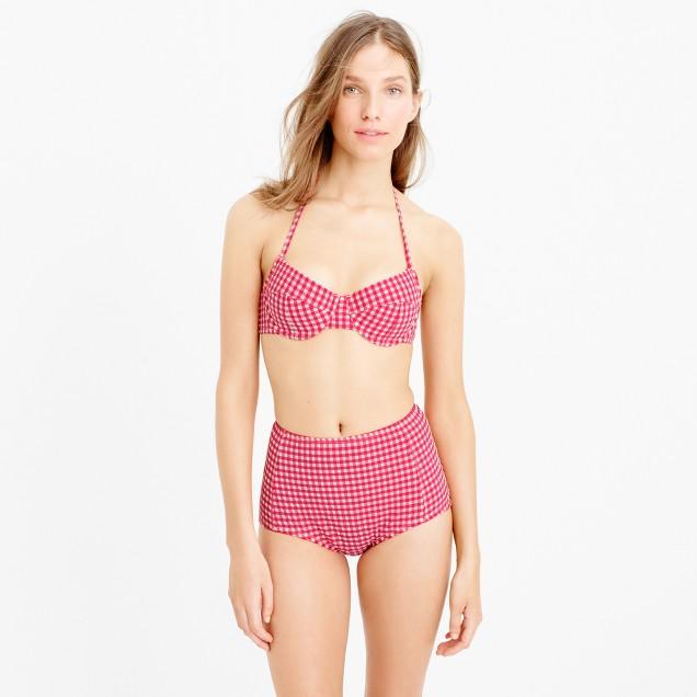 DD-cup gingham seersucker demi-underwire halter bikini top