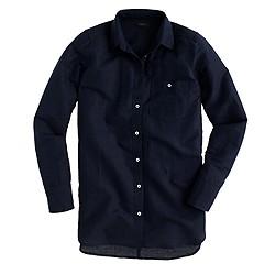 Petite long cotton-linen boy shirt