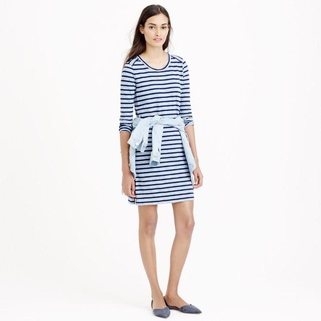 Striped side-zip T-shirt dress