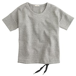 Short-sleeve drawstring sweatshirt