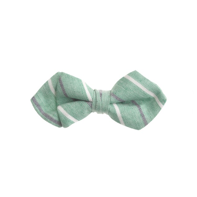 Boys' linen-cotton bow tie in classic green stripe