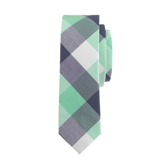 Boys' Indian cotton tie in lime plaid