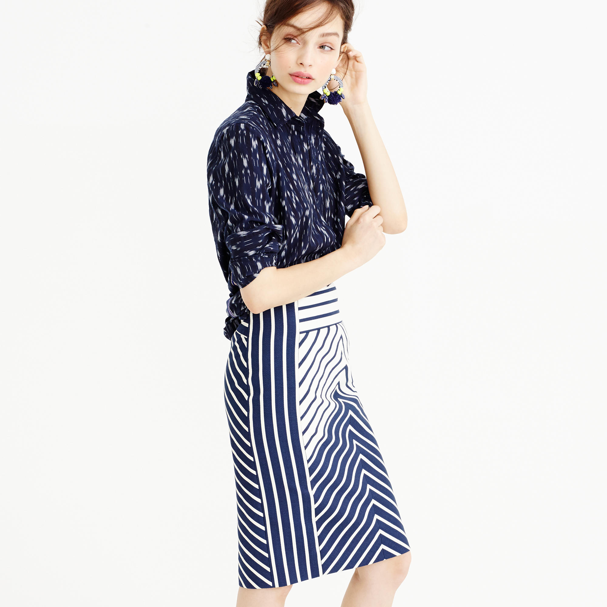Pencil skirt in chevron stripe : | J.Crew