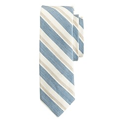 English linen-cotton tie in spring stripe