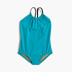 Girls' one-piece swimsuit with ruched neck