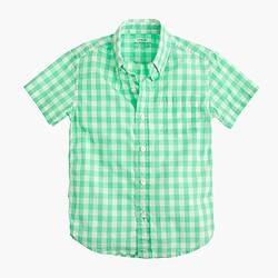 Kids' short-sleeve Secret Wash shirt in bright gingham