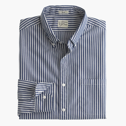 Slim Secret Wash shirt in classic navy stripe
