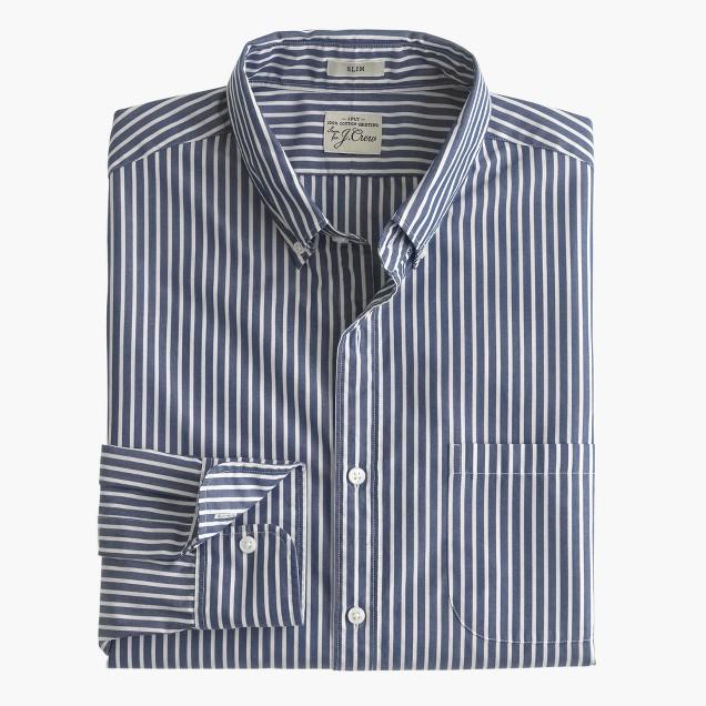 Slim Secret Wash shirt in classic navy stripe