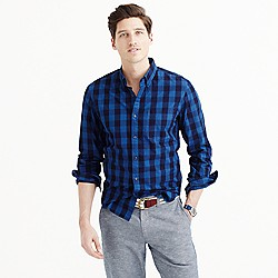 Slim indigo cotton shirt in large gingham