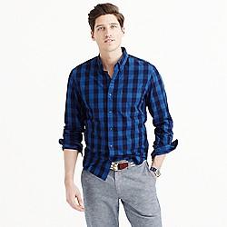 Slim indigo cotton shirt in large gingham