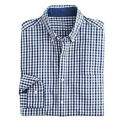 Slim indigo cotton shirt in tattersall
