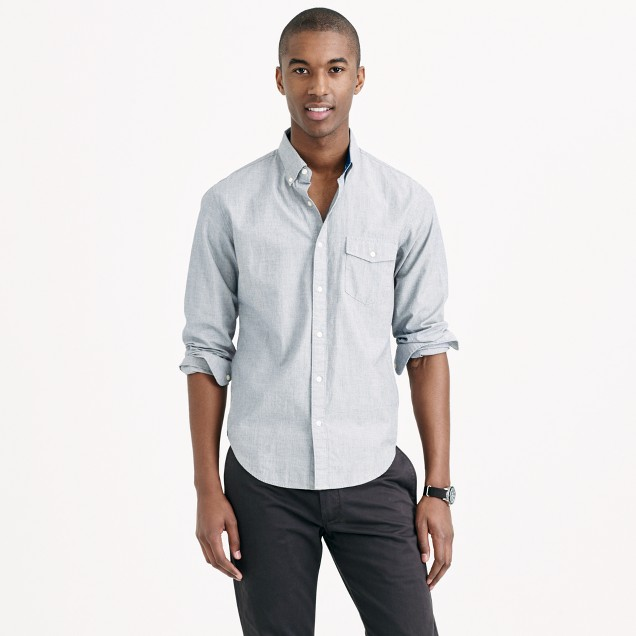 Slim indigo shirt in end-on-end cotton