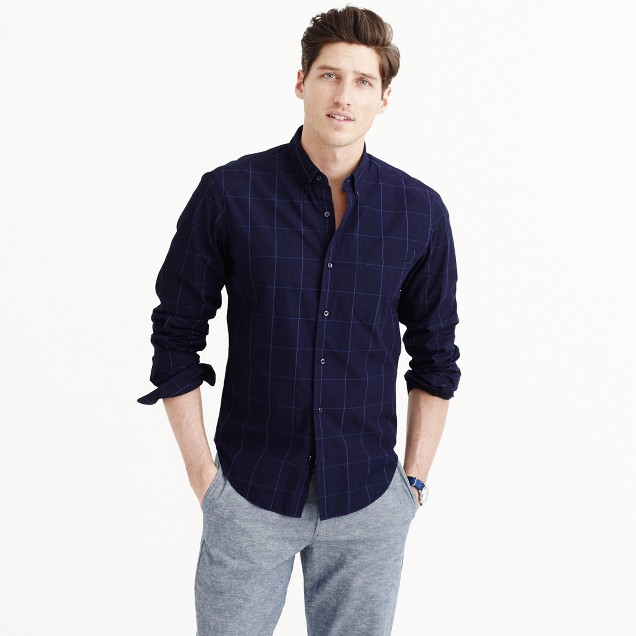 Slim indigo cotton shirt in windowpane