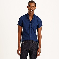 Secret Wash short-sleeve shirt in indigo gingham