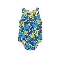 Baby one-piece swimsuit in garden floral