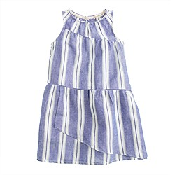 Girls' overlay dress in stripe