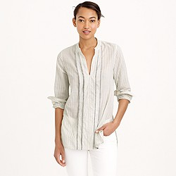 Tall corded popover tunic in grey stripe