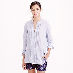 Corded popover tunic in blue stripe
