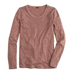 Long-sleeve crewneck T-shirt in slub cotton