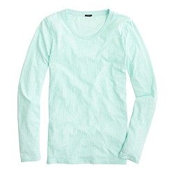 Long-sleeve crewneck T-shirt in slub cotton