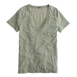 V-neck T-shirt in slub cotton
