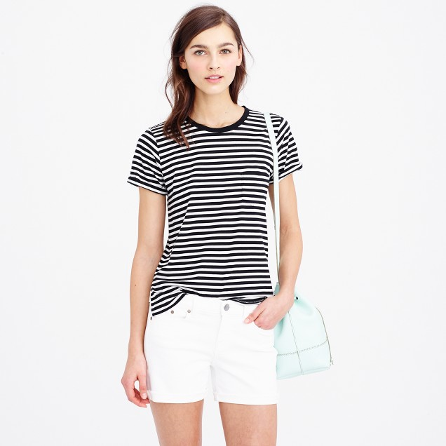 Rolled-sleeve pocket T-shirt in stripe