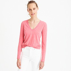 Long-sleeve V-neck T-shirt in slub cotton