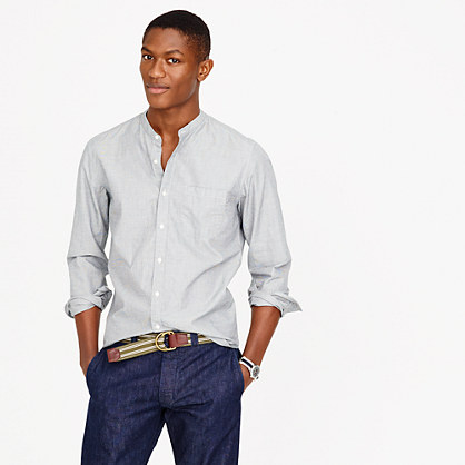 Secret wash band collar shirt in end on end cotton band for Mens big and tall banded collar shirts